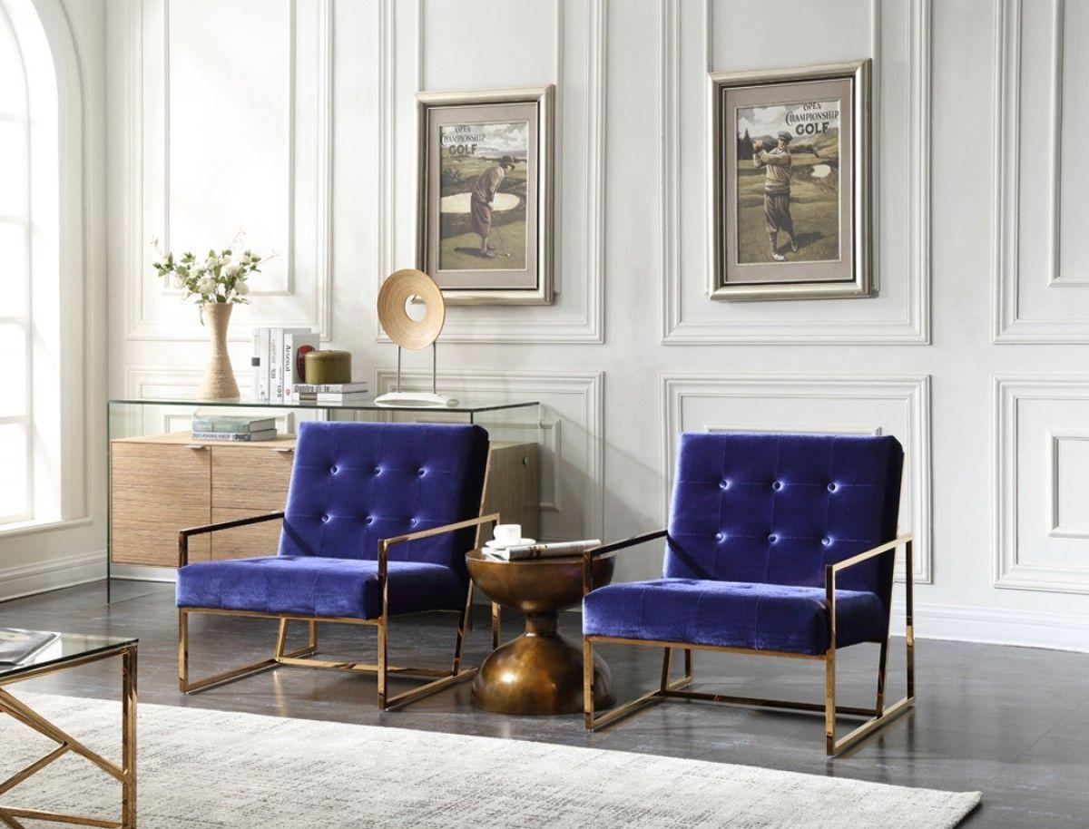 Best Modrest Samara Modern Blue Gold Accent Chair Gold 400 x 300