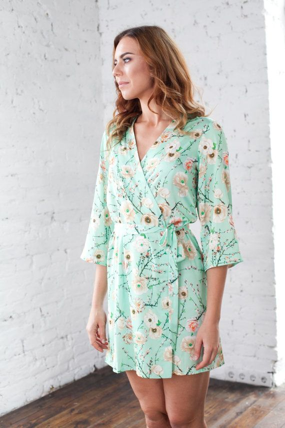 f1dd3c4a10 Floral Robe  Mint Floral Kimono Dressing Gown Clothing