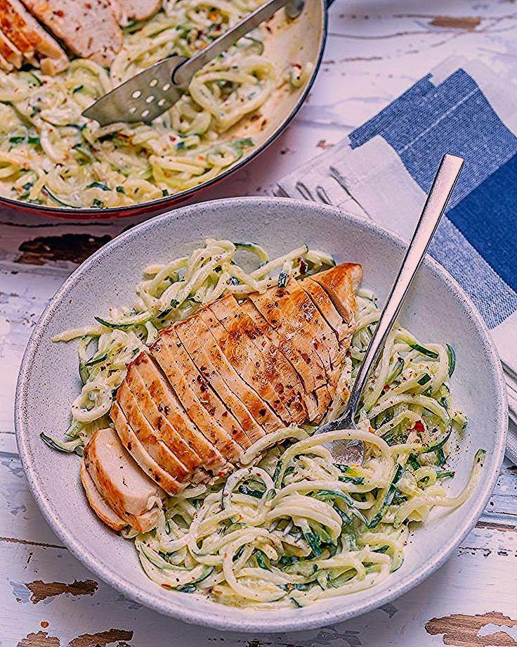 Easy Chicken Alfredo mit Zoodles Rezept gesunde Ernährungsweise und
