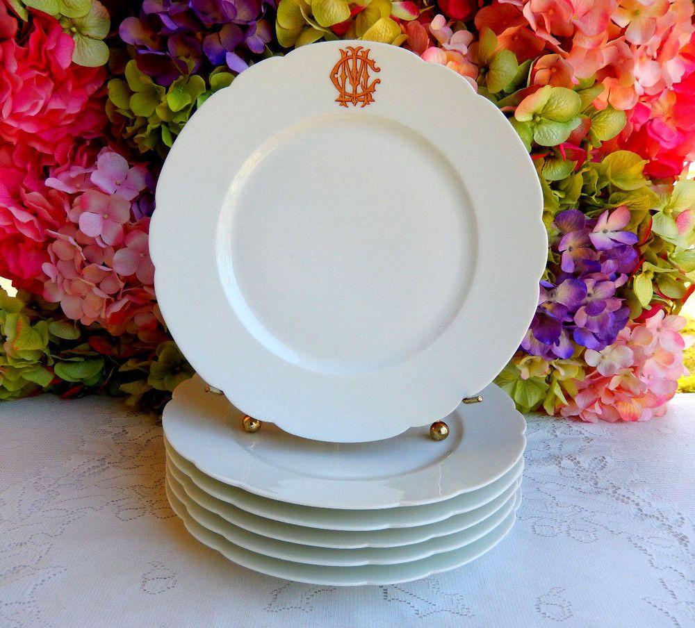 6 Antique Old Paris Porcelain Emile Bourgeois French Dinner Plates Gold 1862c & 6 Antique Old Paris Porcelain Emile Bourgeois French Dinner Plates ...