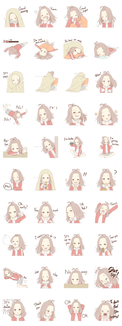 Unmotivated Girl EN – LINE stickers | LINE STORE | anime