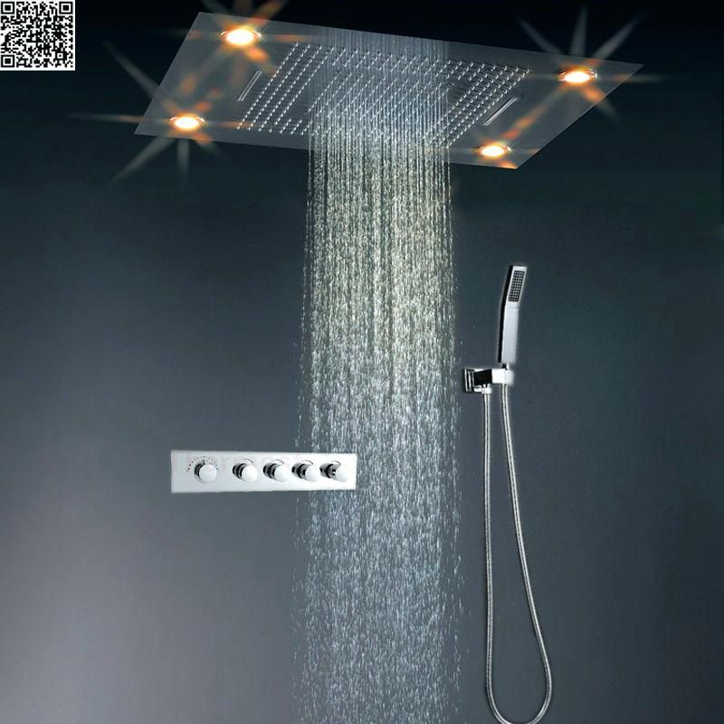 10 Inch Brass Shower Head With Color Changing Led Light Shower