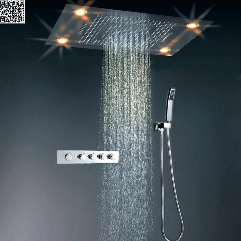 Jmkws Led Big Shower Head Set Thermostat Rain Curtain Showerhead