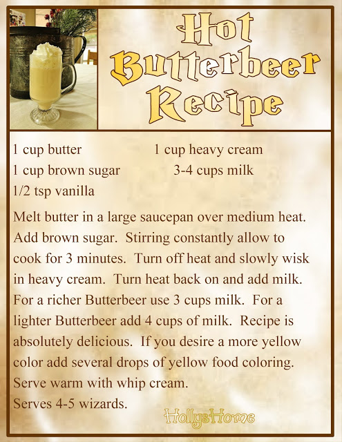 HollysHome Family Life: Hot Butterbeer Recipe and free Hot Butterbeer Label