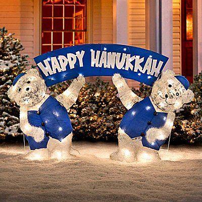 Lighted Happy Hanukkah Polar Teddy Bears Blue White Clear Lights Chanukah  Judaica Jewish Pride Decoration Yard - Pin By Cat Barnard On Chanukah Pinterest Hanukkah, Happy