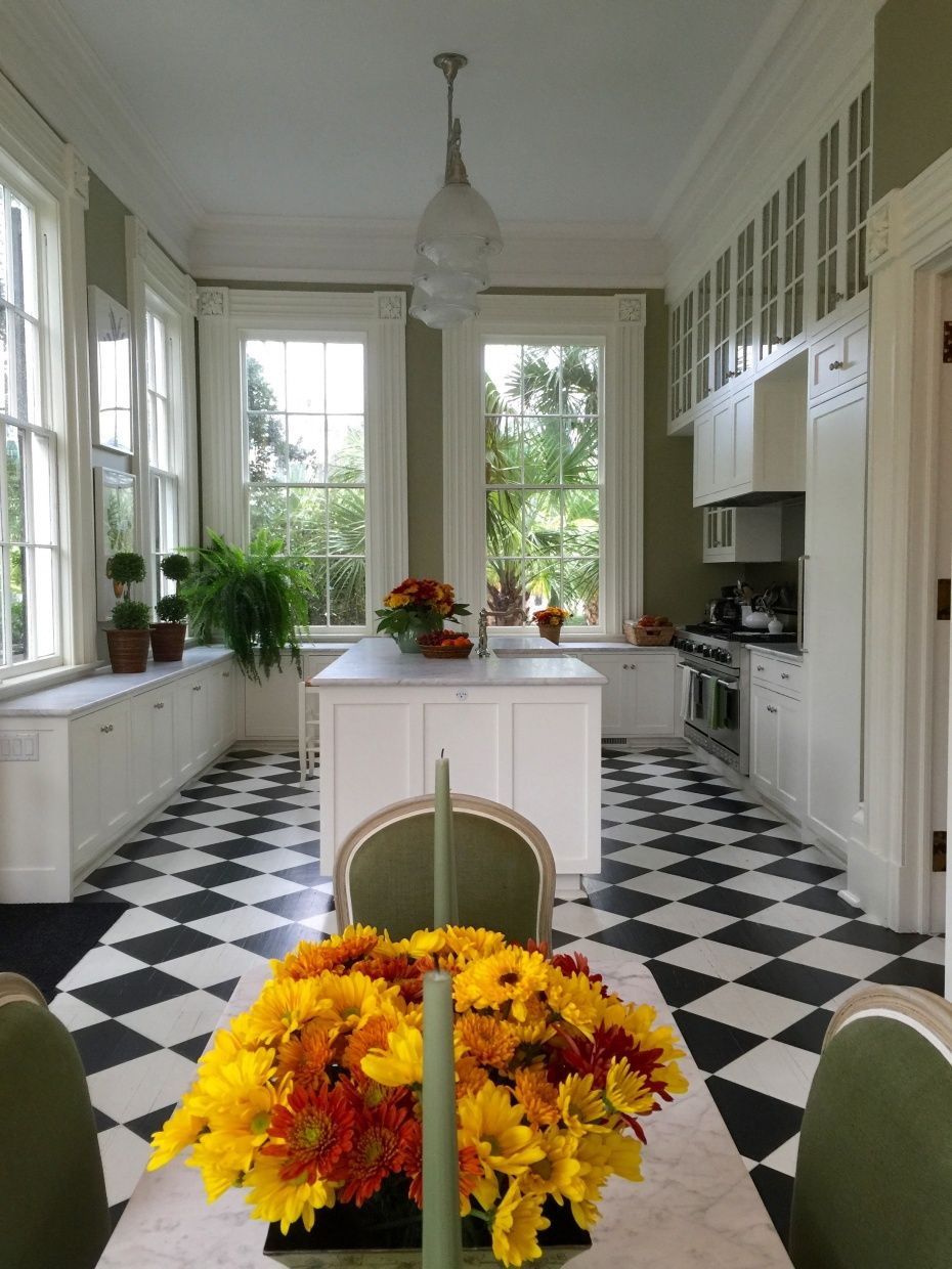 charleston home design%0A Carolyne Roehm u    s Charleston kitchen  lots of windows  moss green on the  walls blend with