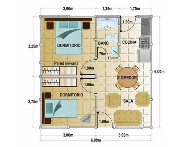 Casa con un rea de construcci n de 36 metros cuadrados y for Decoracion de casas de 40 metros cuadrados