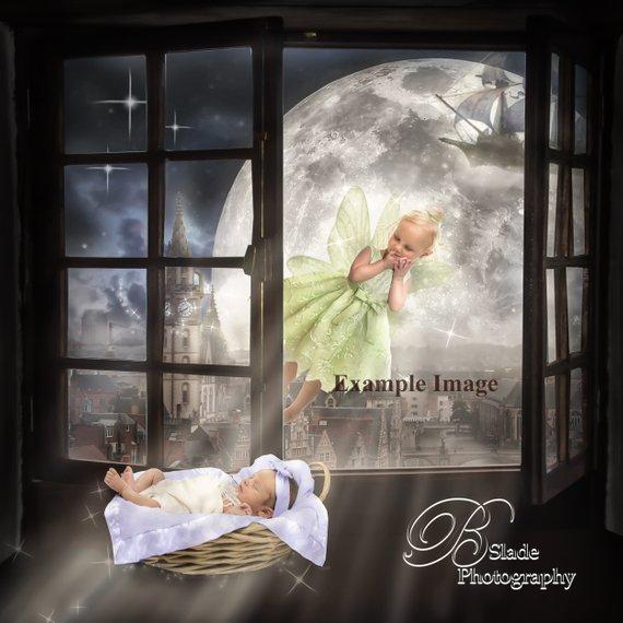 Newborn Peter Pan Window Siblings Digital Background Digital