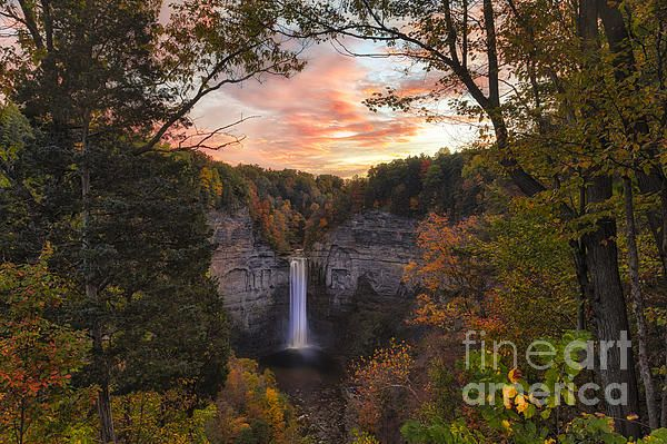 Taughannock Falls Autumn Sunset by Michele Steffey
