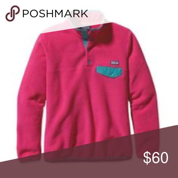 Pink and teal re tool snap t pullover EUC worn only a few times - size small but fits medium as well Patagonia Jackets & Coats