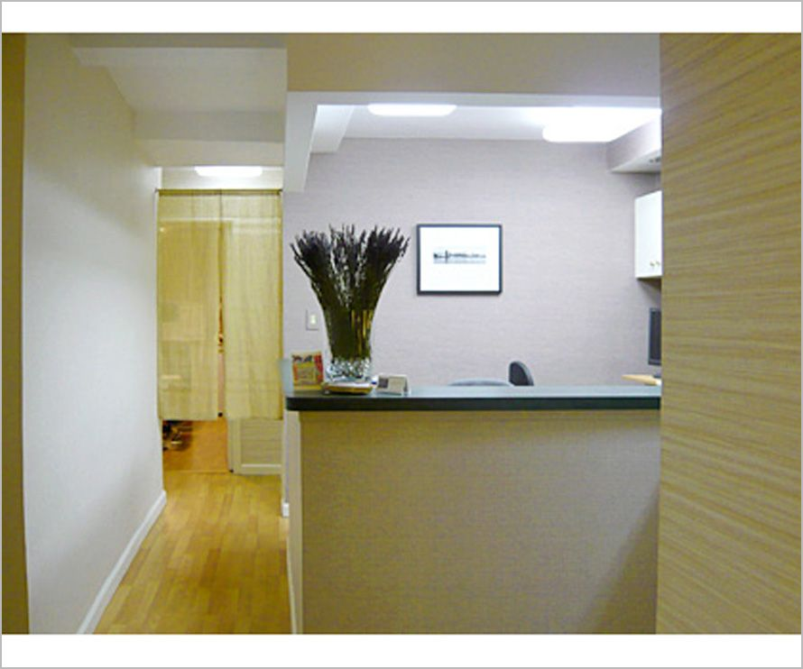 calming sensation in chiropractic receptionist interior photo