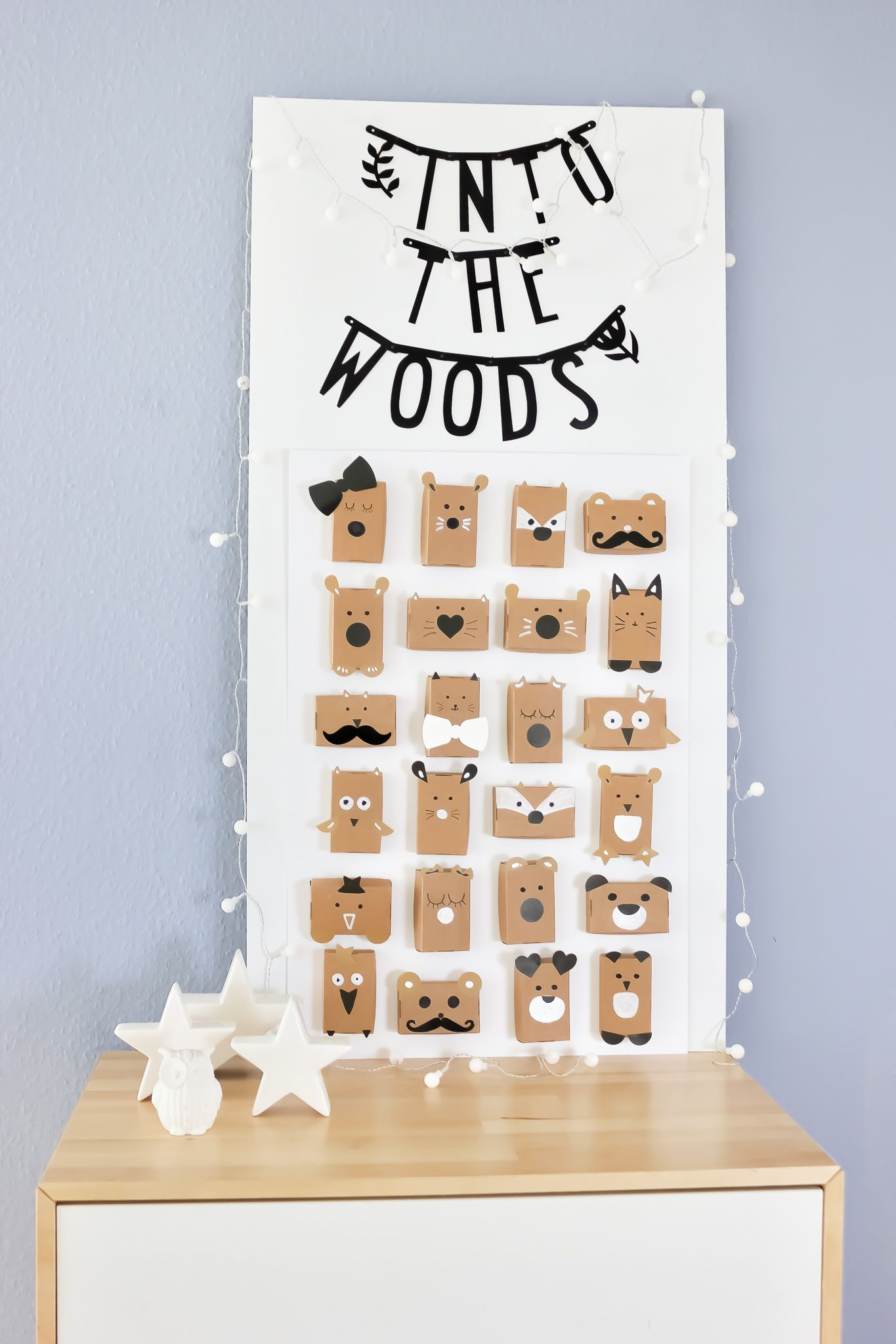 Schau Tiere im Wald ° Einen schlichten Adventskalender für Kinder