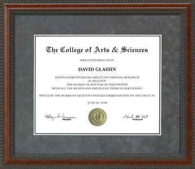 Grey Suede College Diploma Frame