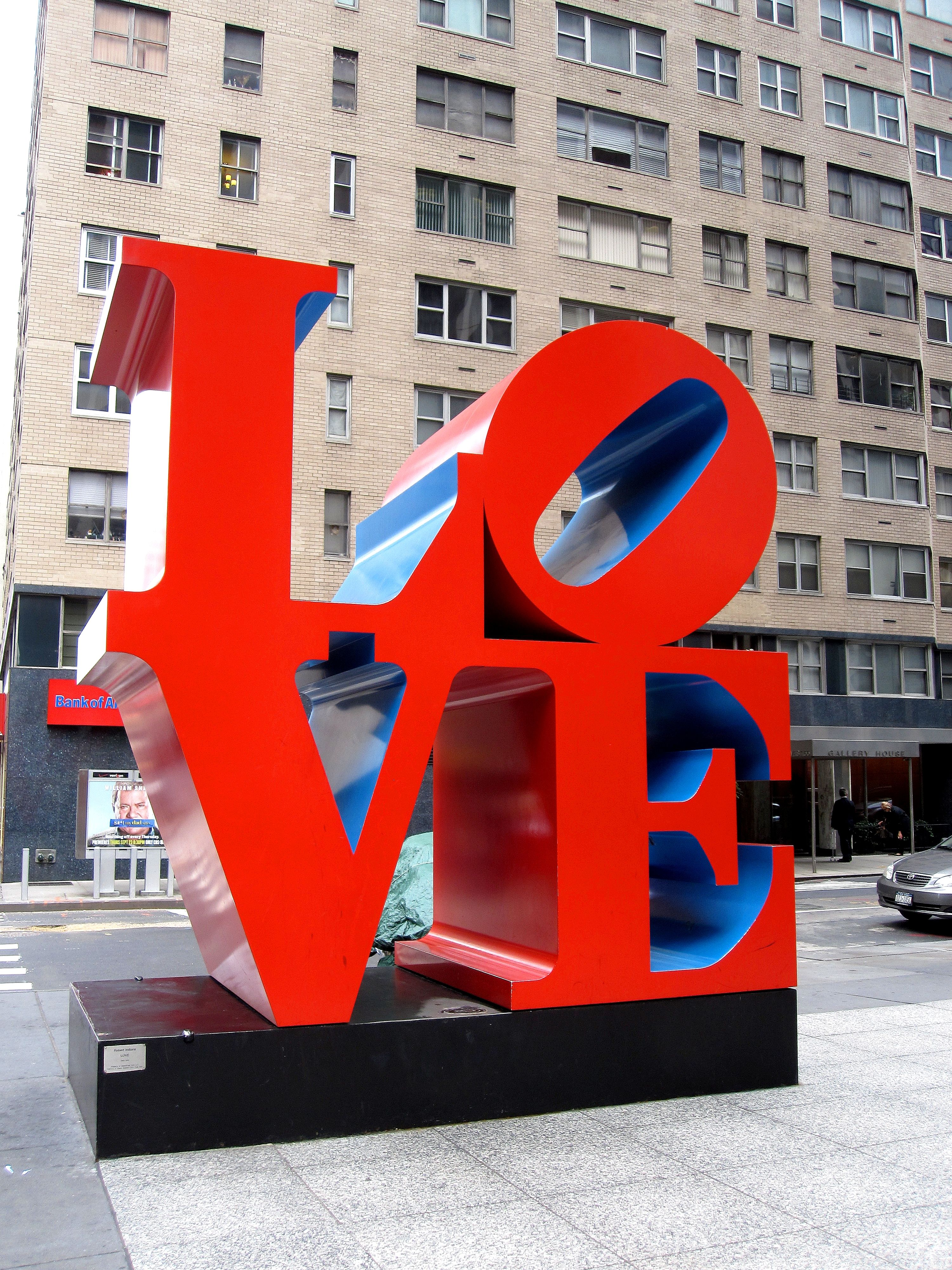 Pop Art Icon Robert Indiana's LOVE modern art sculpture on