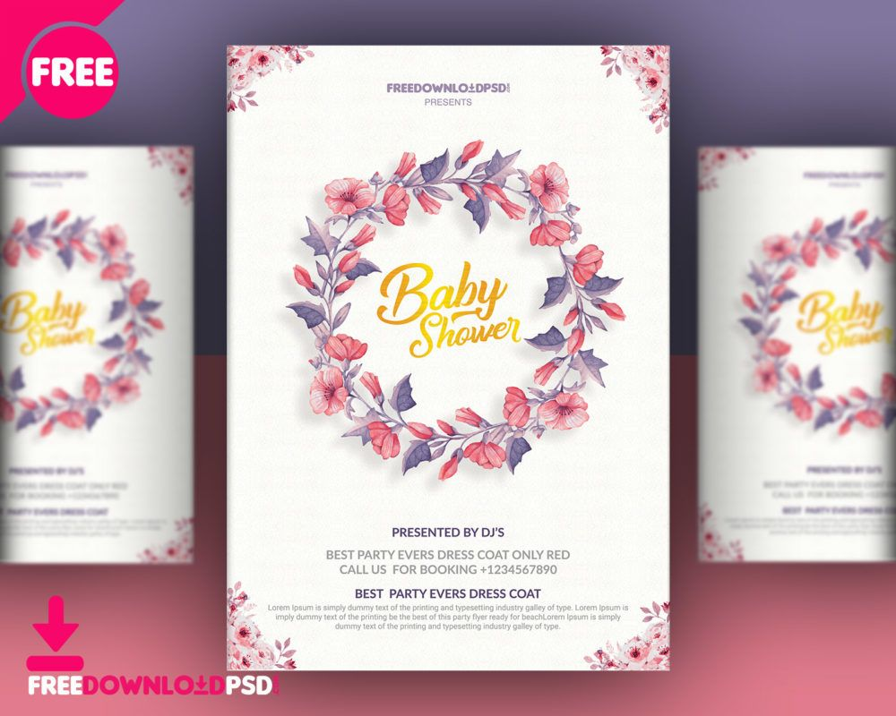 Baby Shower Invitation Templates  Flyers    Baby