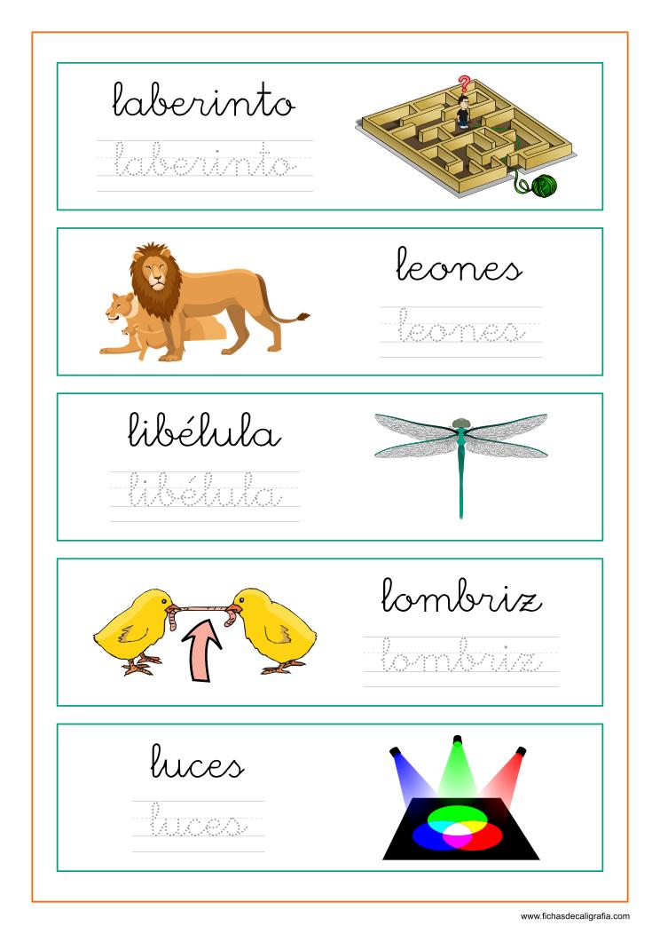Palabras Que Empiezan Por La Le Li Lo Lu Fichas De Caligrafía Baby Learning Learning Kids