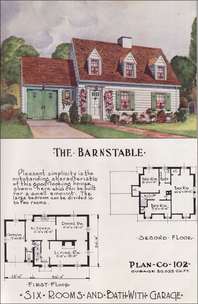 Mid Century Cape Cod Style Nationwide House Plan Service 1950s Home Design Small Houses The Barnstable Sims House Plans Small House Plans House Plans