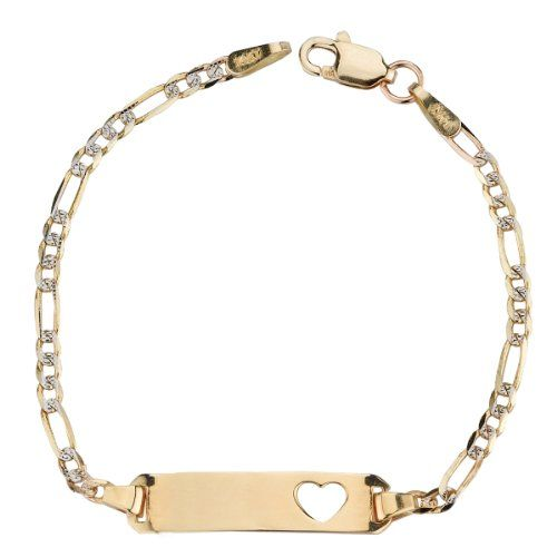 14k Yellow Gold White Pave Figaro Heart Baby Id Bracelet 5 List Price 300 00 131 99 Free Shipping