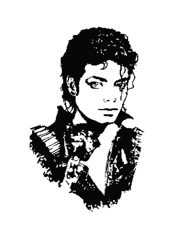 Michael Jackson Silhouette Cross-Stitch Pattern Chart ...