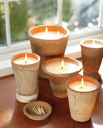 DIY Rustic Candles made from old terra cotta flower pots