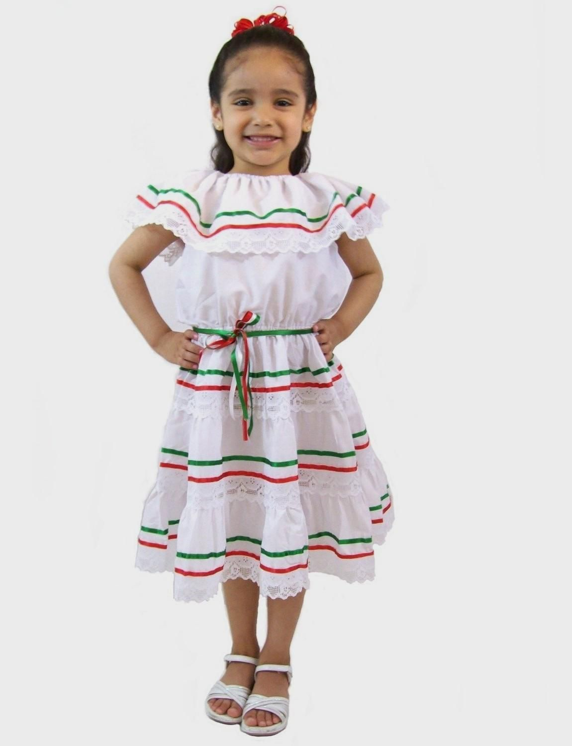 f66493a1b42 Amazon.com  Leos Mexican Imports Girls Mexican Dress 3 Ribbons ...