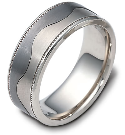 Dora Mens Wedding Band with Two Tone Wave Design Greenwich