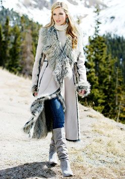 Taupe Faux Fur-Trimmed Suede Cascade Full-Length Coat | mama ...