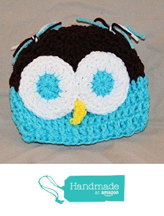 Ready to mail - OWL crochet baby cap - fits most babies up to approximately 3 months old - 100% acrylic yarn - smoke free - pet free - all new materials used Aqua blue & Chocolate Brown from PMSCRAFTS https://www.amazon.com/dp/B01KVRB55A/ref=hnd_sw_r_pi_dp_JepeybFJRPG0M #handmadeatamazon