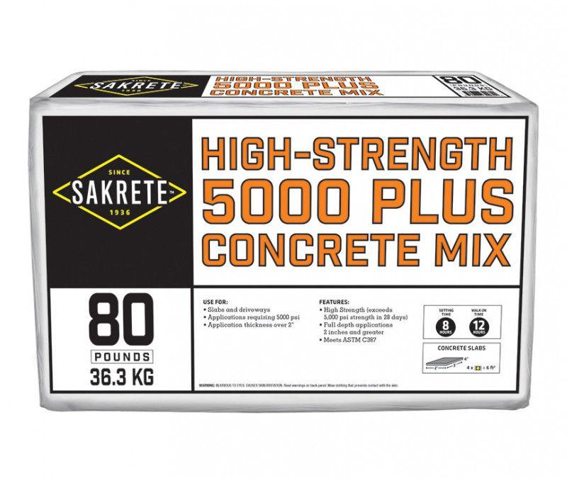 5000 Plus High Strength Concrete Mix Concrete Sakrete