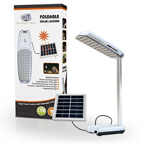 Cosmically Solar  Foldable Solar Lantern  44 LED Lights  Portable for Camping  Great Desk Lamp or Computer Light  Charges By Sunlight DC or USB  Mobile Device Charger  1year Guarantee ** More info could be found at the image url.(This is an Amazon affiliate link and I receive a commission for the sales)