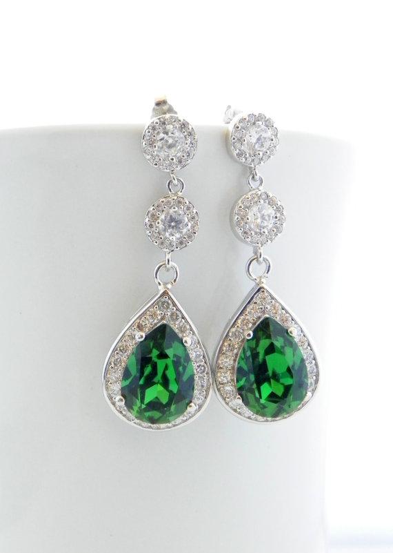 Green Wedding Earrings Moss Swarovski Cubic Zirconia Bridal Jewelry Hunter Long Cz Bridesmaid Greenery