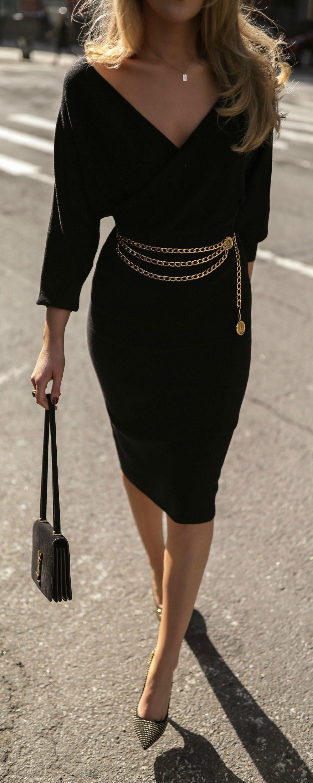 Click For Outfit Details Black Faux Wrap Long Sleeve Midi Dress Black Gold Stud Pumps Vintage Gold C Fashion Long Sleeve Midi Dress Black Dress Outfits [ 2502 x 1000 Pixel ]
