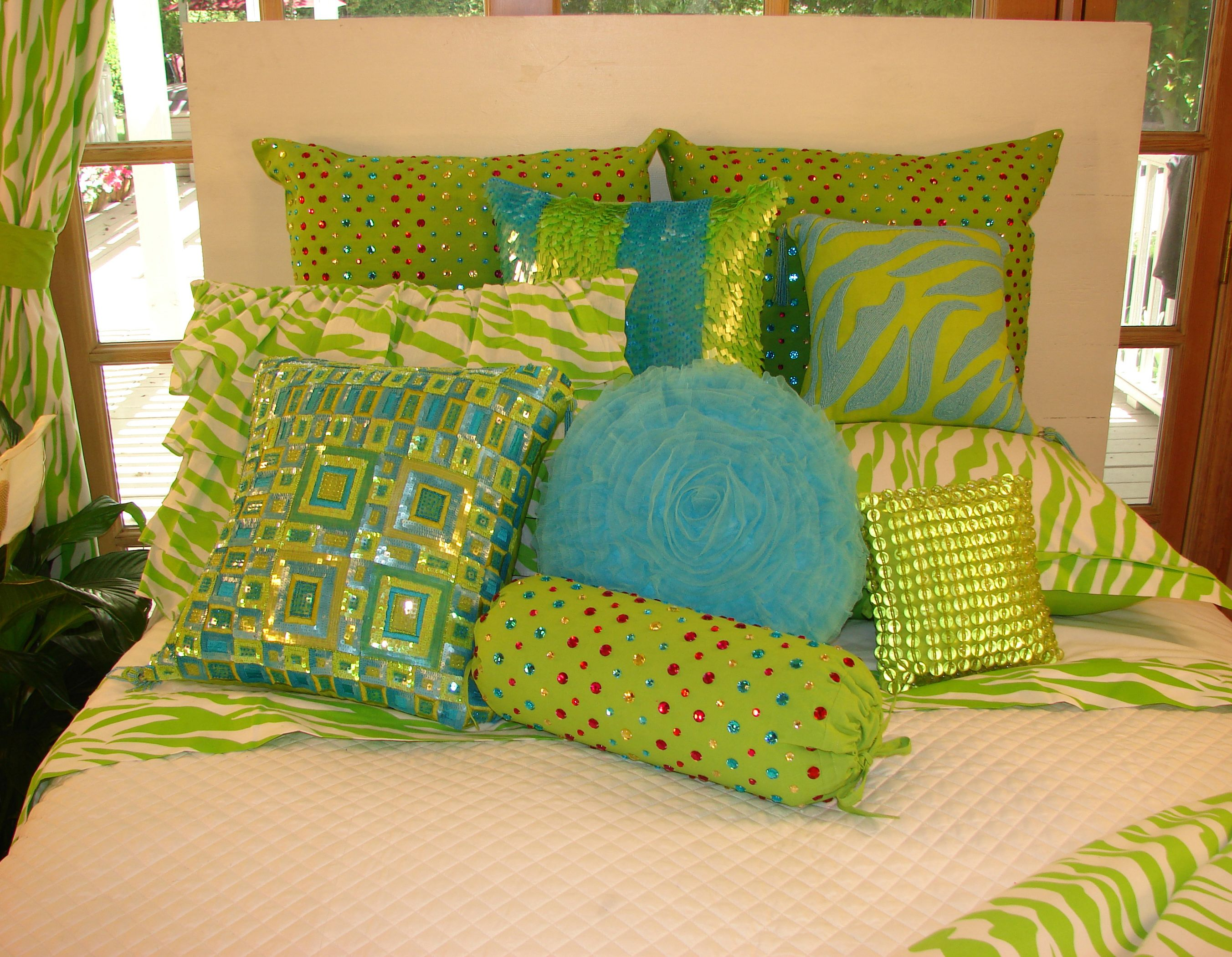 Outrageous Lime Green Zebra Bedding