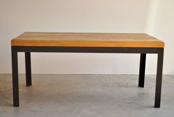 Hand scraped cedar and black metal coffee table by DohlerDesigns