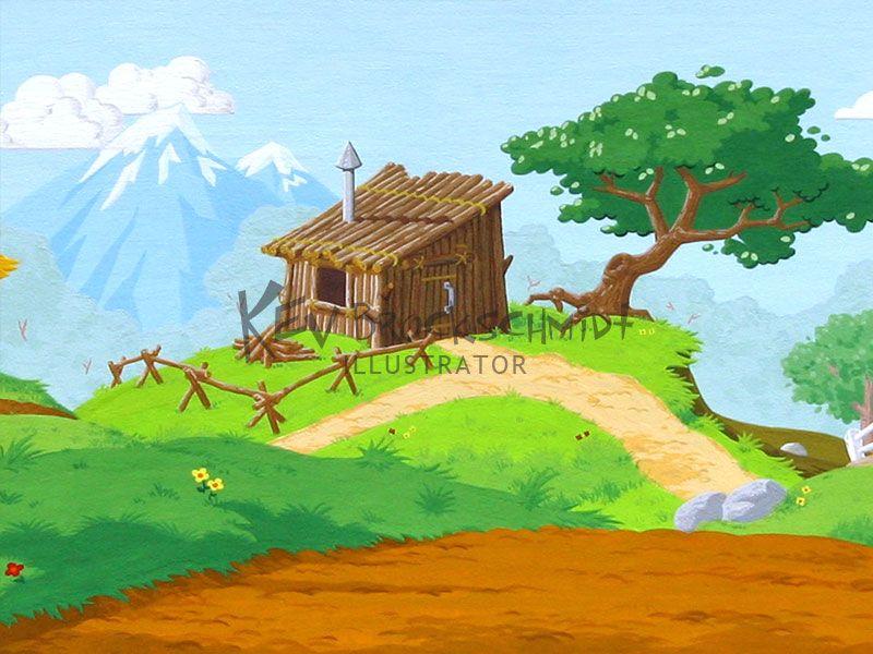 Detail of stick house | Dioramas / Silhouettes | Three ... House Made Of Sticks Cartoon