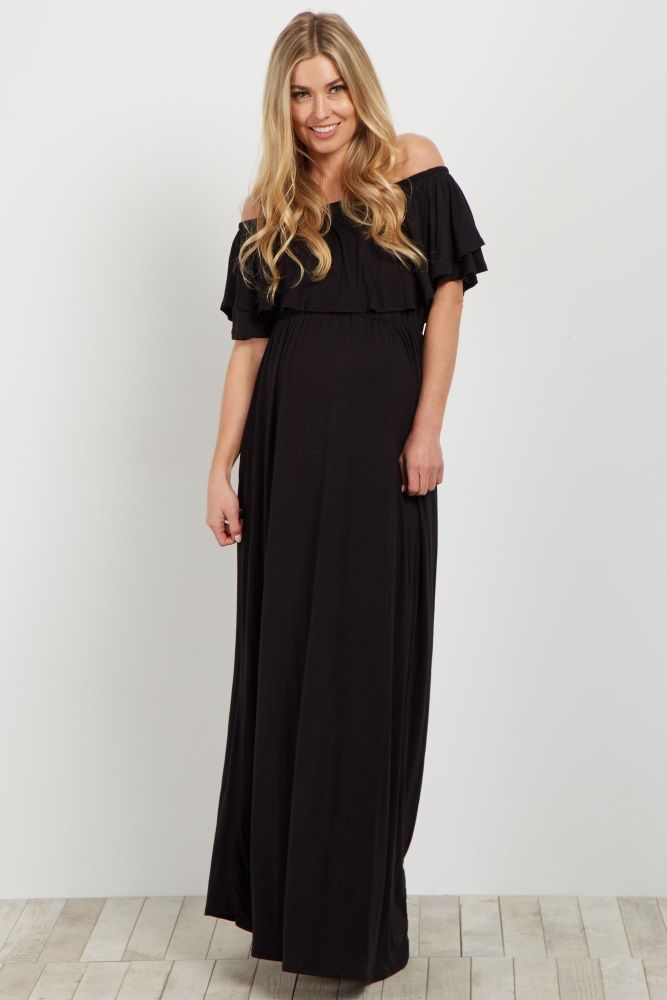 3b2387b5fa12 This maternity maxi dress is the perfect essential for any casual occasion  this year. An off shoulder keeps you stylish, while the ruffle trim  neckline ...