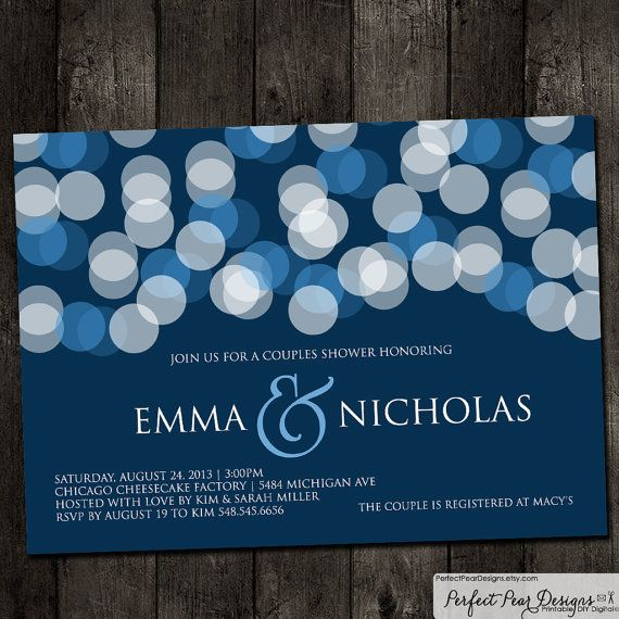 couples wedding shower invitation navy blue bridal shower baby retirement rehearsal dinner same
