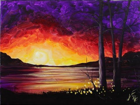 Summer sunset at the lake step by step acrylic painting on for Acrylic painting for beginners step by step