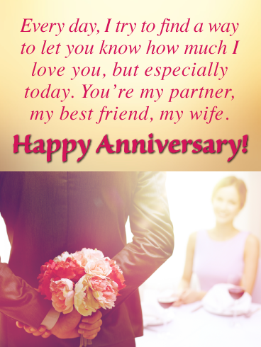 My Partner Best Friend Wife Happy Anniversary Card For Wife Birthday Greeting Cards By Davia Anniversary Cards For Wife Happy Anniversary Cards Happy Anniversary