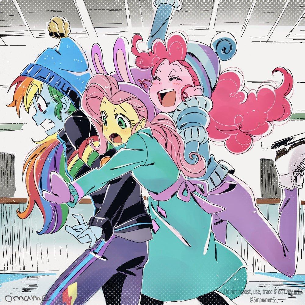 2232770 Safe Artist 5mmumm5 Fluttershy Pinkie Pie Rainbow
