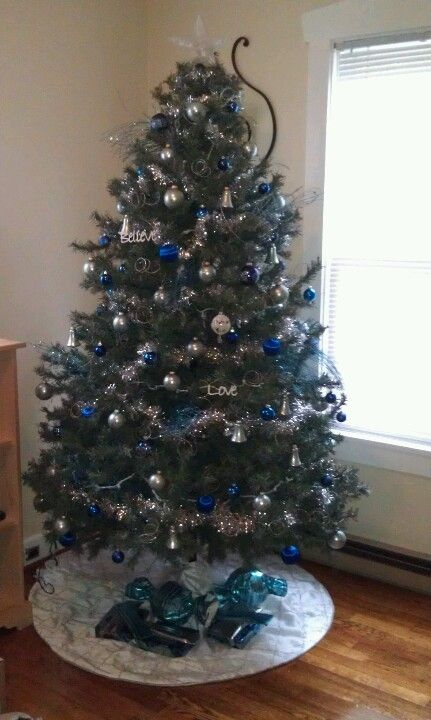 Light Blue Dark Blue Silver Christmas Tree Blue Christmas Decor Blue Christmas Tree Blue Christmas