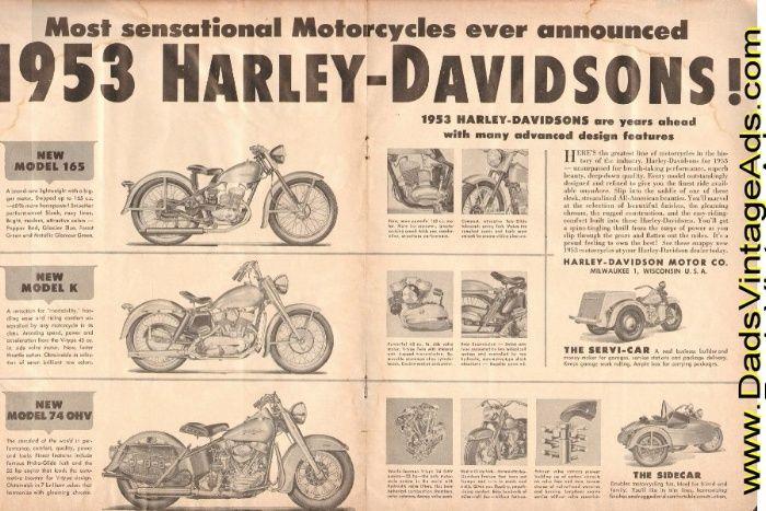 1953 Ad For Harley Davidson Harley Davidson Pinterest Harley