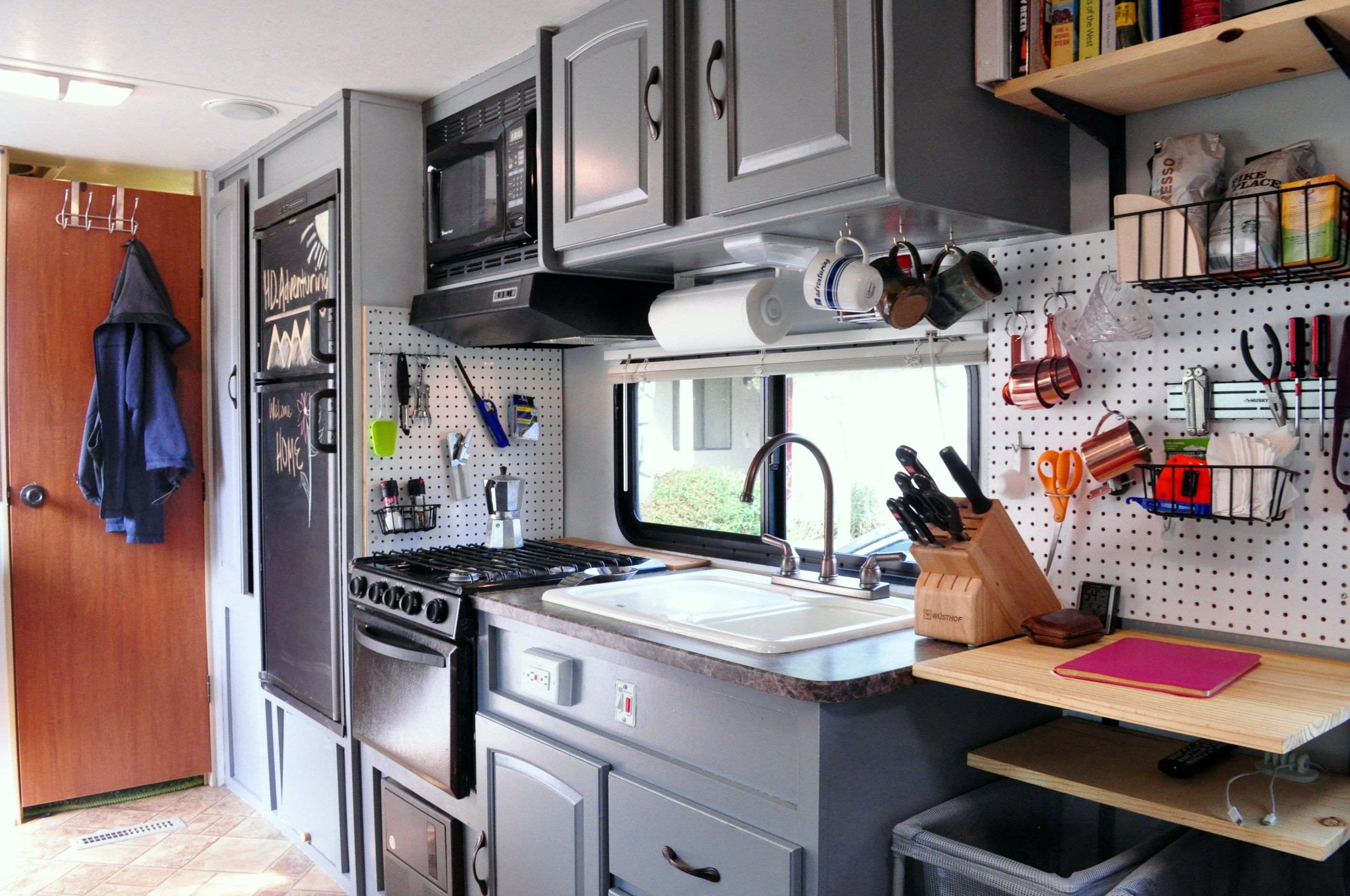 How To Turn An Rv Into A Tiny House Hd Adventuring Camper Interior Design Camper Interior Travel Trailer Remodel