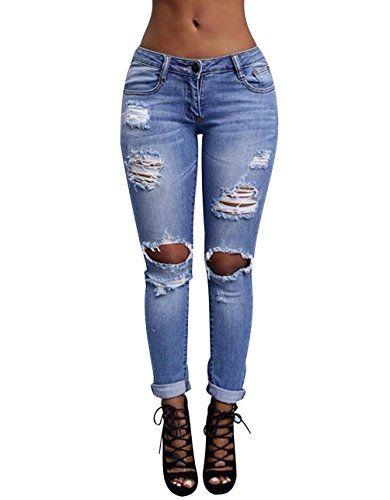 Jeans Taille Haute Femme Jean Déchiré Skinny Pantalon Jean Troué Slim  Jeggings Stretch Tregging Pantalons Femmes f2eff6fd493