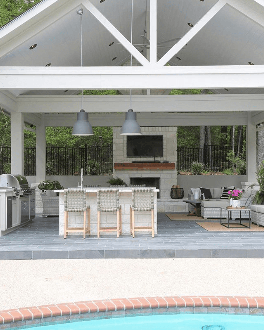 13 Outdoor Kitchen Ideas You Ll Want To Cook Up In Your Own Backyard Outdoor Kitchen Design Layout Pool Houses Outdoor Living Space Design