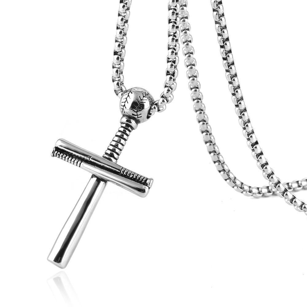 Cross Necklace Pendant Sports Stainless Steel Baseball With Bat Chain for Men