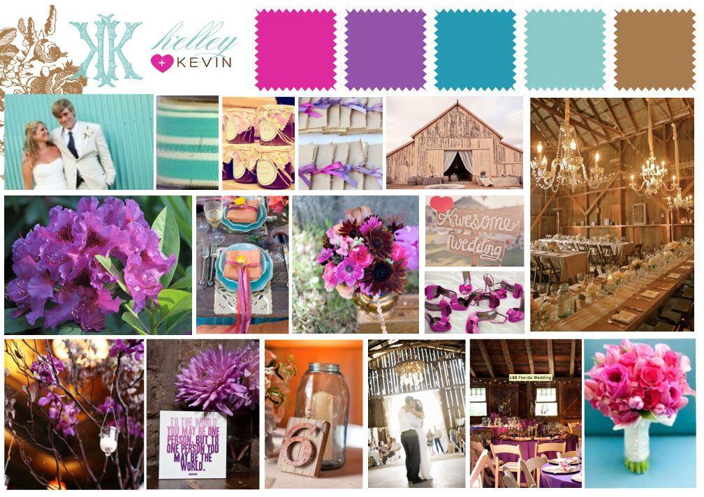 Rustic Weddings Turquoise Aqua Purple Pink Brown Purple