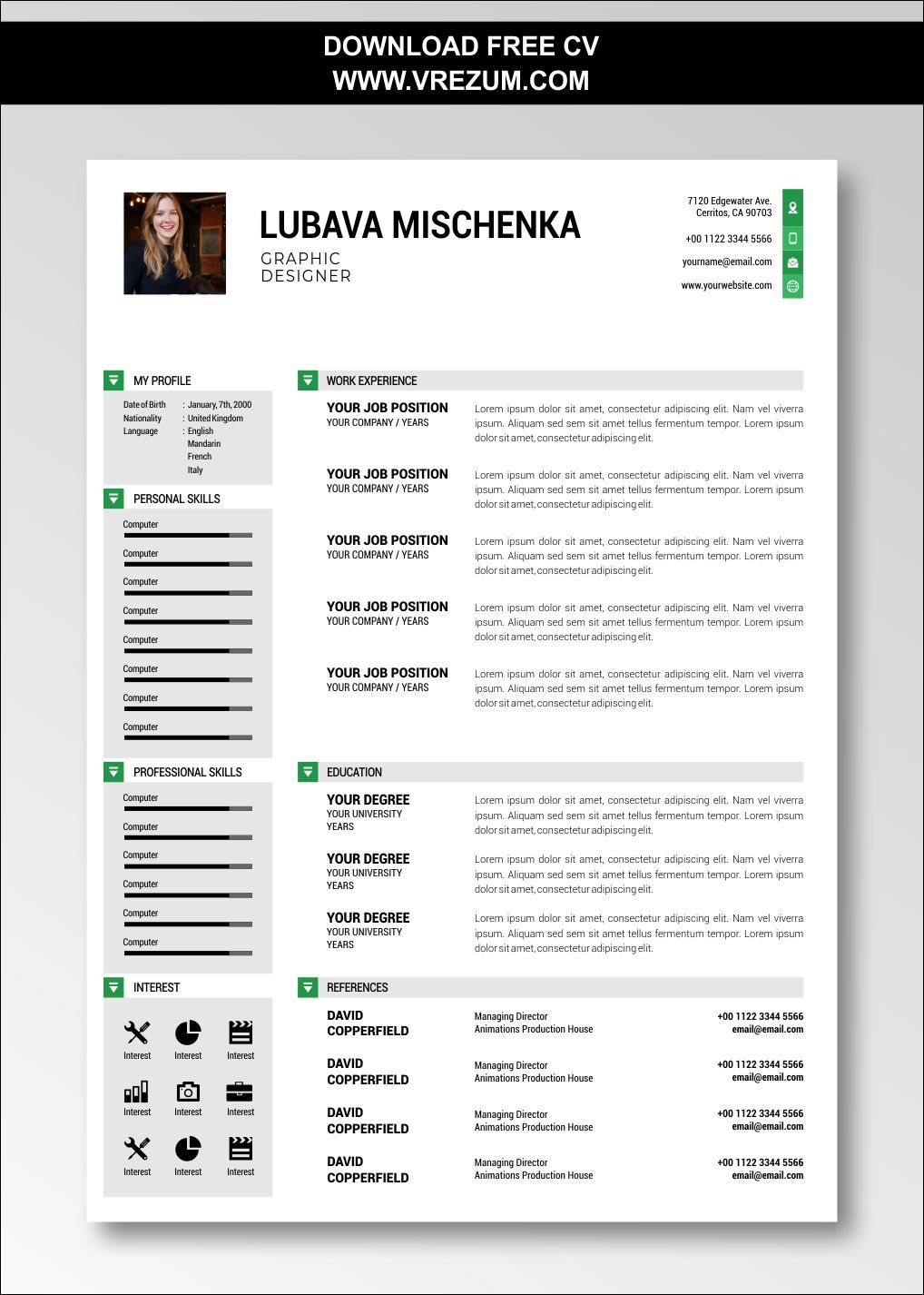 Editable Free Cv Templates For Graphic Designer Cv Template Free Cv Template Graphic Design Cv