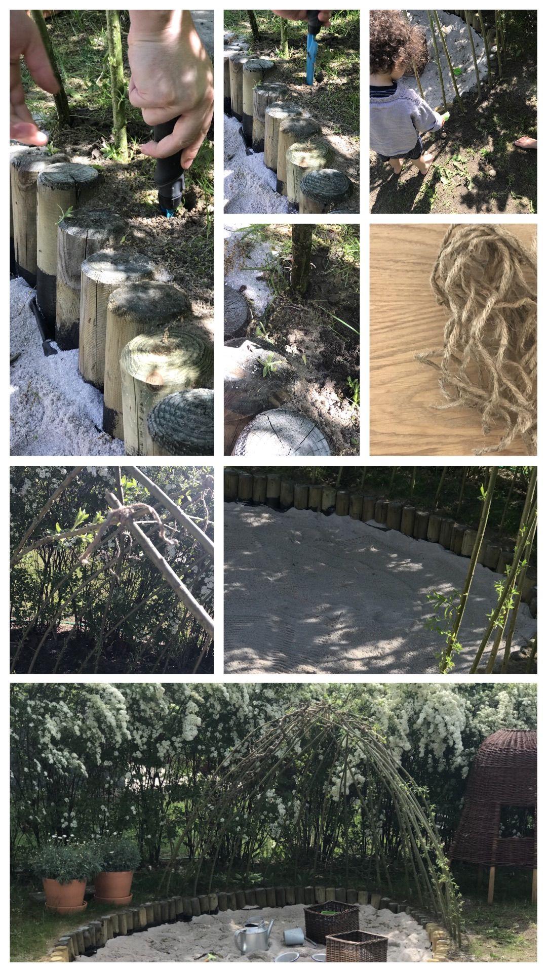 Bodennahe Natur Sandkiste aus Palisaden bauen mit Weidendach ...
