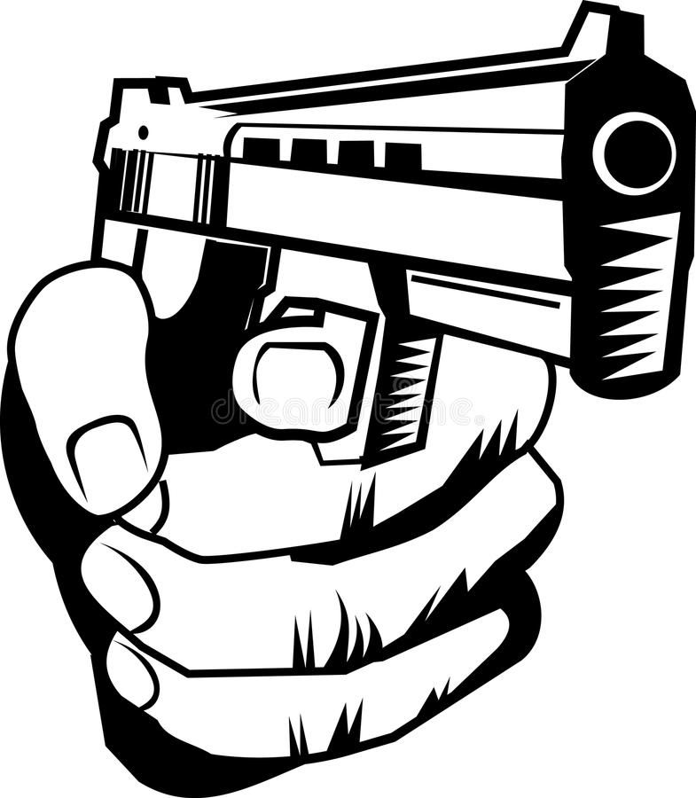 Hand with pistol Cartoon of a hand holding a weapon about to shoot